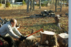 All Work and No Play Makes Jack a Dull Boy. Hitting huge log with heavy axe