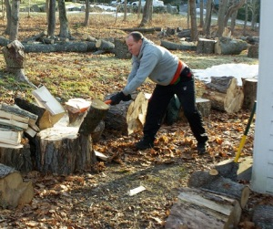 The Writer at Work. Splitting a log