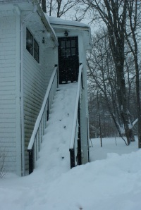 Snowy stairs up to my writing cave