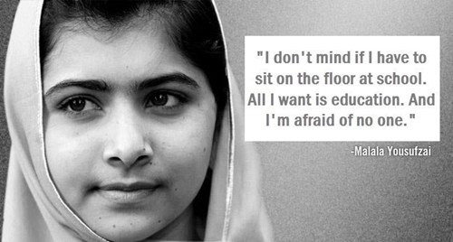 Malala Yousafzai, 14-year-old girl shot for speaking out about her right to education, in 2012